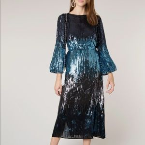 Rixo London Coco Sequin dress ombré blue like new!